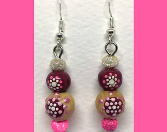 Earrings Rondouille Art neon pink glitter