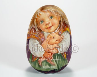 Egg-ornament Girl with Piggy from Lida-Studio matryoshka nesting dolls handmade Exact replika of Original Personage by artist V.Barsukova