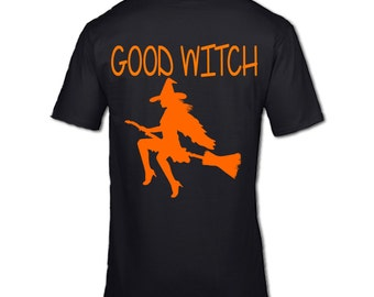 GOOD WITCH T-SHIRT Halloween witch ghost ghoul good witch pumpkin scary horror teens best friend girlfriend Bad witch