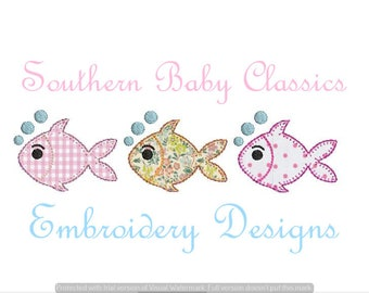 Fish Trio Blanket Applique Design File for Embroidery Machine Instant Download Nautical Classic Preppy Beach Vacation Nautical Boy Girl