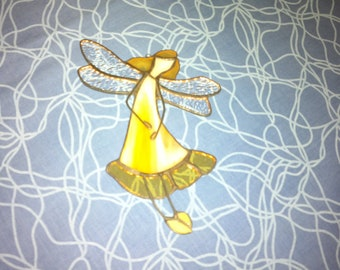 Fairy sun catchers, Stained Glass Ornament, Sun Catcher window hanging, Fairy art, stained glass angel, baby suncatcher, gift for sister