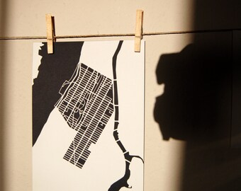 Harlem, New York City silhouette paper map cut (A4 size)