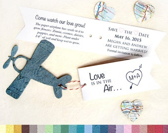 50 Love is in the Air Plantable Save the Date Card Set - Seed Paper Airplanes Wedding Favor Tags - Destination Wedding Favors - Plane