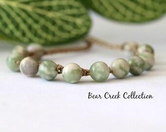 Peace Jade Stacking Bracelet, Green, Gemstone, Crochet Bracelet, Layering, Adjustable, Boho Style Jewelry, Bohemian, Bead and Cord Jewelry