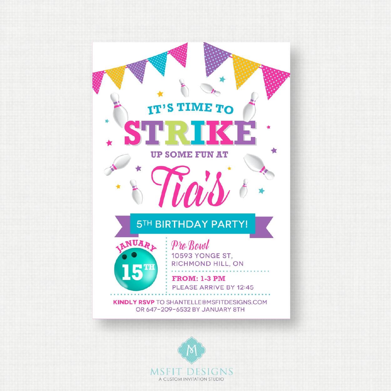 Printable Birthday Invitation- Bowling Birthday Invitation, Bowling ...