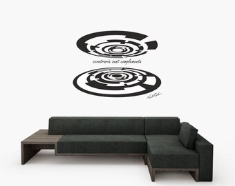 Science art - Niels Bohr's quote on the Opposites plus abstract geometric art vinyl wall decal for scientific decor (ID: 121078)