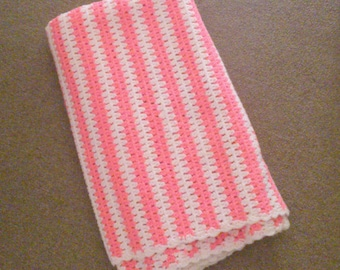 Vintage Hand Crocheted Pink Striped Afghan 50 X 75