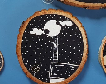 a ladder to the stars - hand painted wooden plaque