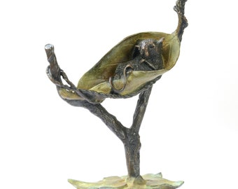 Bronze mouse sculpture, little dormouse sleeping in a leaf hammock, wildlife collectible, foundry cast bronze, gift for animal lovers