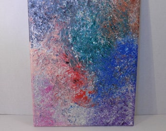 One of a kind abstract rainbow, original acrylic on canvas painting by RainbowMaille