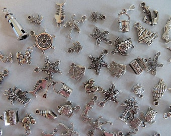 80 Plus Pieces DOWN By The SEA Charm Set in Pairs Nautical Beach Cruise Vacation Set of Charms Jewelry Atq Silver Tone