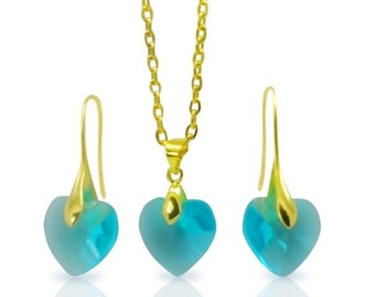 Heart Teal Crystal Earrings and Gold Pendant Necklace Set, Crystal Drop Earrings