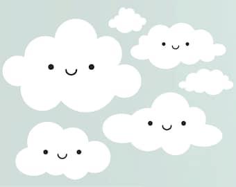 Happy Cloud Wall Decal Baby Nursery Kids Kawaii Room Decor
