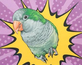 Original Custom Pet Portrait, 12x14 Quaker Parrot Painting, Pop Art Parrot Portrait, Gift for Parrot Lover, Quaker Parrot Illustration