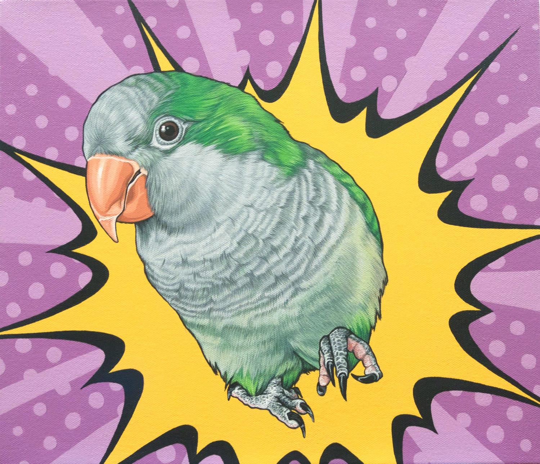 Original Custom Pet Portrait 12x14 Quaker Parrot Painting