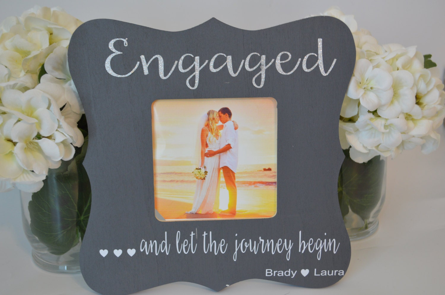 Engagement picture frame, custom picture frame, wedding picture ...