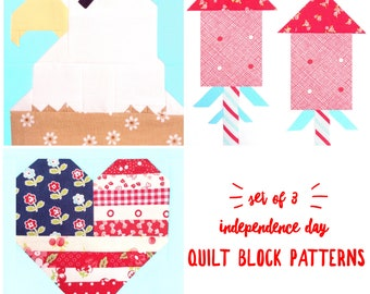 Set of 3 Independence Day 4th of July Quilt Block Patterns Eagle, firecrackers, American Flag Heart Instructions for 6 & 12 inch 15% Savings