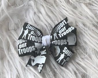 """2.5"""" Pinwheel support our troops hair bow"""