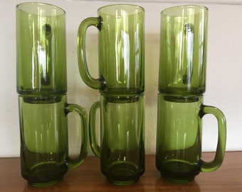 Rare 1970s Green Glass Beer Steins