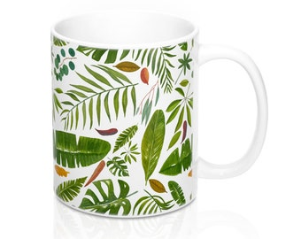 Mug 11oz Tropical Leaves