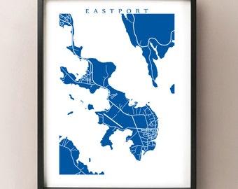Eastport, Moose Island Map Print - Maine Poster