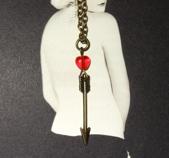 Arrow Necklace, Red Glass Heart, Love Pendant, Bronze Arrow Charm, Cupid's Arrow, Love Token, Simple Necklace, Arrow with Heart, Red Heart
