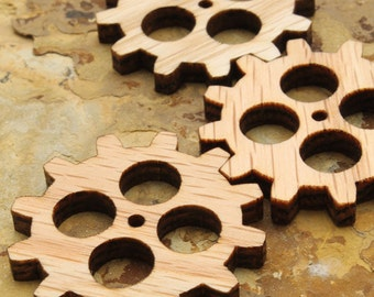 """Steampunk Clock Gear 1.5"""" with Four Cutouts - Pack of 10 -Wisconsin Oak Wood Charms by Timber Green Woods. Made in the USA."""