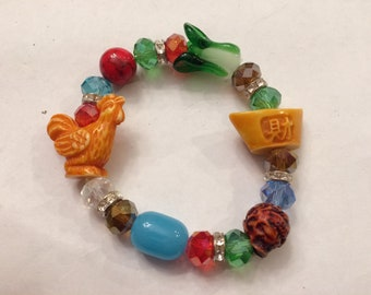 Oriental Glass and Natural Stones Stretch Bracelet