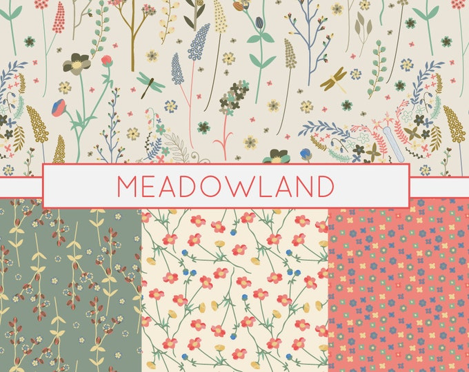 Meadow Pattern, Prairie Pattern, Digital Paper, Floral Pattern, Commercial Use, Scrapbook Paper, 12x12, Hand Drawn, Instant Download, Pink
