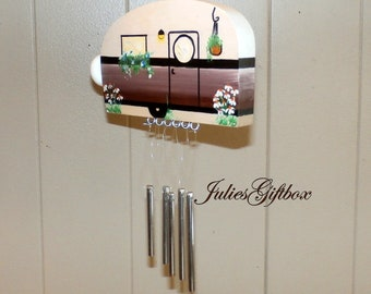 Brown Hand Crafted Wood Travel Trailer Camper Wind Chime Hand Painted-Indoor/Outdoor-Fathers Day-One of a Kind