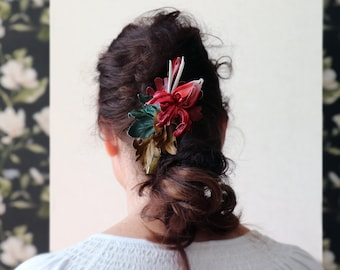 leather hair barrette, Red orchid flower, Natural leather, Clamps for hair, hair clips, Made by Oxana, Gift for her,  Present for her.