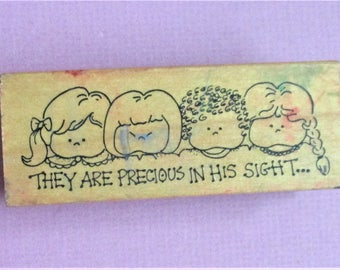 They Are Precious in His Sight Religious Papercraft Rubber Stamp Wood Block Mounted Scrapbooking DIY Craft Supply Stamp Childrens Stamp