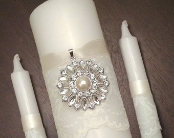 Unity Candle Set Silver Pearl Brooch Candle Set, Church Wedding Unity Candles for Wedding, Lace Unity Candle Set Christian Wedding