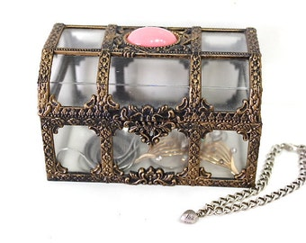 Vintage 50s Jewelry Trinket box Casket Plastic Faux Brass Ornate Top plastic Pink Quartz Bead