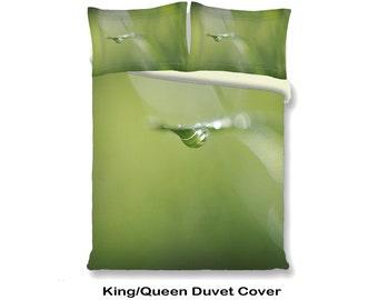 Green Duvet Cover Set, Macro Water Drop Doona Cover Pillow Sham Set, Bedroom Decor, Dew Drop Cob Web Twin Full Queen King Size Bedding Set
