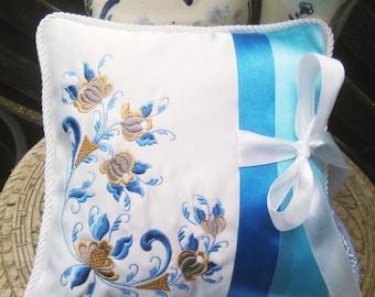 Norwegian Rosemaling Embroidered  Wedding Ring Bearer Pillow