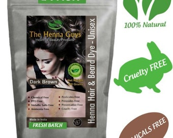 Dark Brown Henna Hair Dye Powder 150g ( 5.29 Oz) - 100% Natural Product