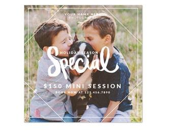 INSTANT DOWNLOAD -  Square photography mini session design - Photoshop template - E1225