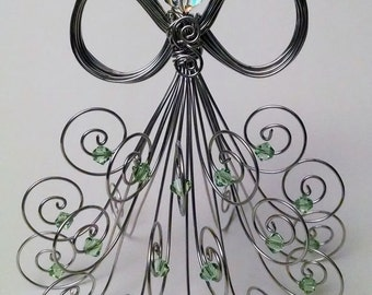 Special Edition: Silver tone wire angel, Swarovski crystal beads, head and peridot beads