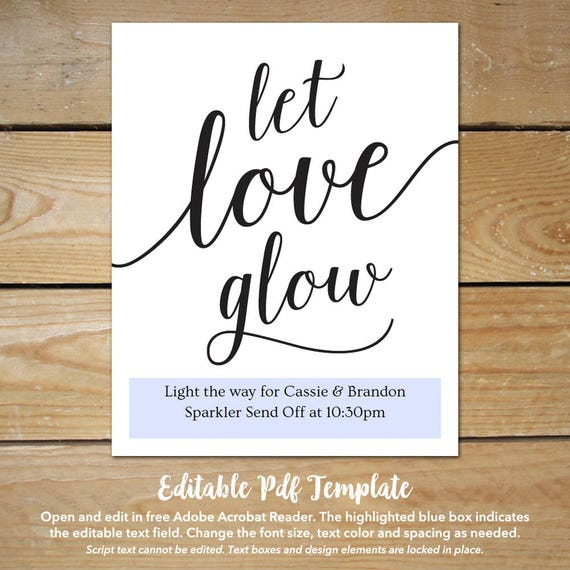 Printable wedding send off sign let love glow sign send printable wedding send off sign let love glow sign send off ideas instant download editable wedding sign pronofoot35fo Image collections