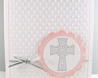 Girl Religious Cross Card, Girl Baptism Card, Christening Card, First Communion Card, Confirmation Card, Handmade Pink Cross Card