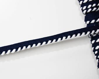 Dark blue and white piping 7 mm, 1 m, surpassing