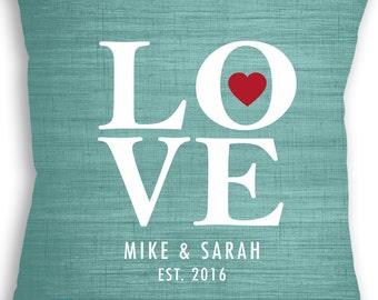 LOVE custom name date Pillow - Personalized Wedding Gift - Love Wedding Gift - Mr & Mrs Gift