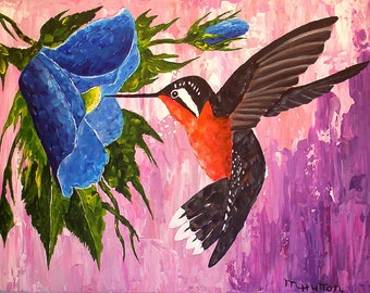 "Hummingbird Painting,"" Caught in the Act"", Palette knife painting, Home Decor, Gifts, Modern, Contemporary, Wall art"