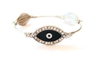 Evil Eye Bracelet, Stacked Bracelet, Wire Wrapped Bangle, Greek Evil Eye, Stacking Bracelet, Greek jewelry, Bridesmaid bracelet