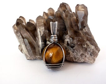 Tiger Eye Mini Crystal Ball Pendant ~ Recycled Oxidised Sterling Silver ~ Handcrafted Golden Brown Chatoyant Stone Amulet ~ Unisex Jewellery
