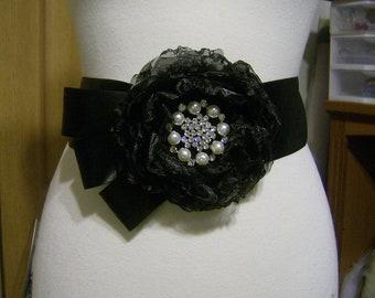 Black Bridal Sash, Handmade flower sash,Wedding dress sash,Black organza flower.