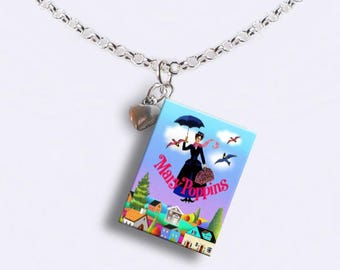 Mary Poppins with Tiny Heart Charm - Miniature Book Necklace - Style 1