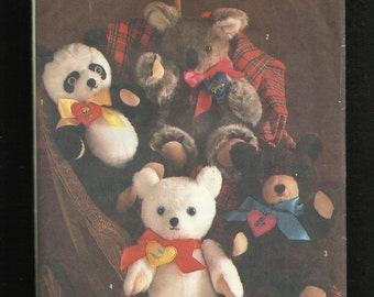 1985 Simplicity 6142 Chic Bears Koala Panda Polar and Teddy Sizes 16 inches Tall UNCUT