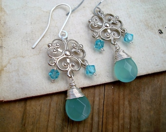 Silver Filigree Earrings With Aqua Crystal Vintage Style Gifts Under 40 Gifts For Her Spring Bridesmaid Earrings Bridal Jewelry